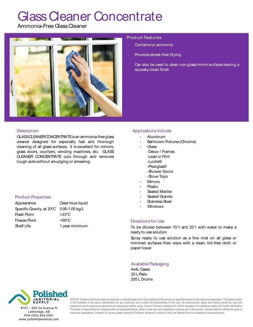 Technical Data Information Sheet Glass Cleaner Ammonia Free Concentrated