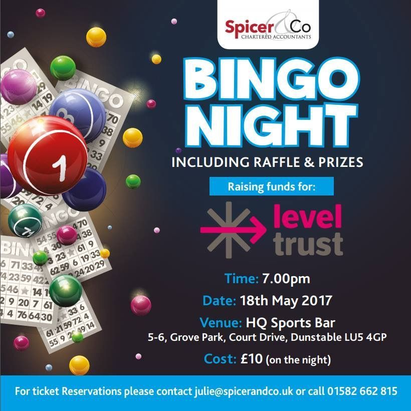 spicer & co, level trust, hq sports bar, bingo, raffle, prizes, dunstable bedfordshire