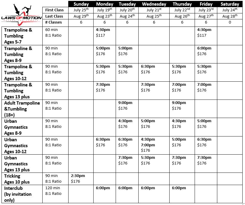 LOM Winter 1 Schedule 2020