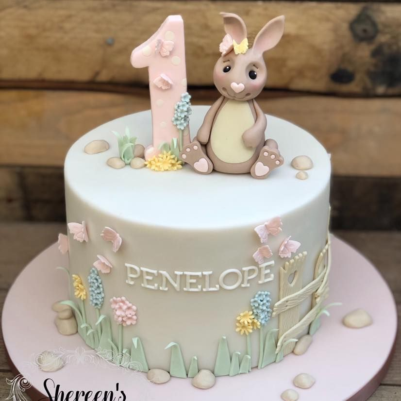 birthday cake 1st first bunny butterfly pastel soft colours