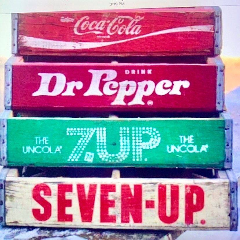 Vintage Wood  Soda crates Coke Cola, 7-up, Dr pepper, Pepsi & more to rent