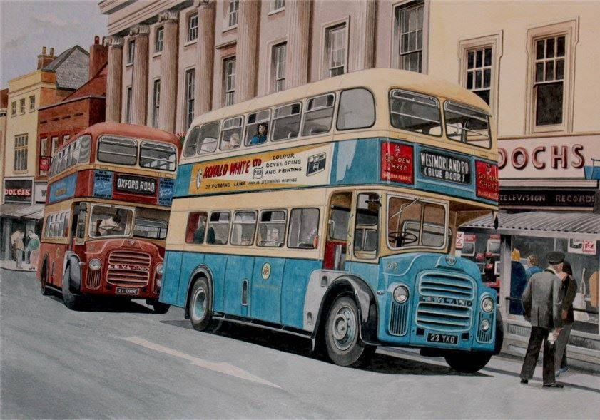 Maidstone Corporation buses in Maidstone (Watercolour) : £195