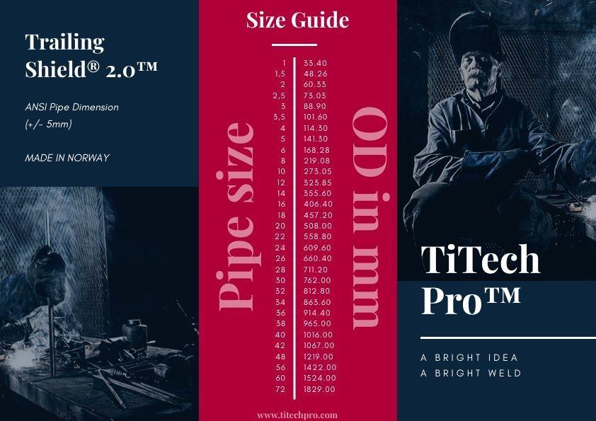 titech pro pipe schedule size trailing shield, jørpeland, norway, titanium