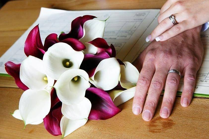 Burgundy White Callas Bouquet