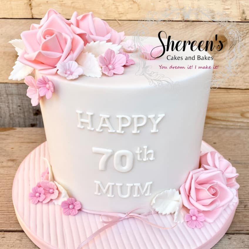 Pretty Pink Rose Birthday Cake