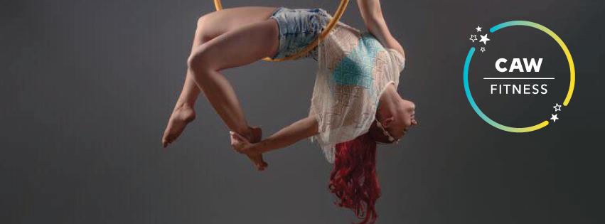 Hoop aerial fitness women red hair core strength dance