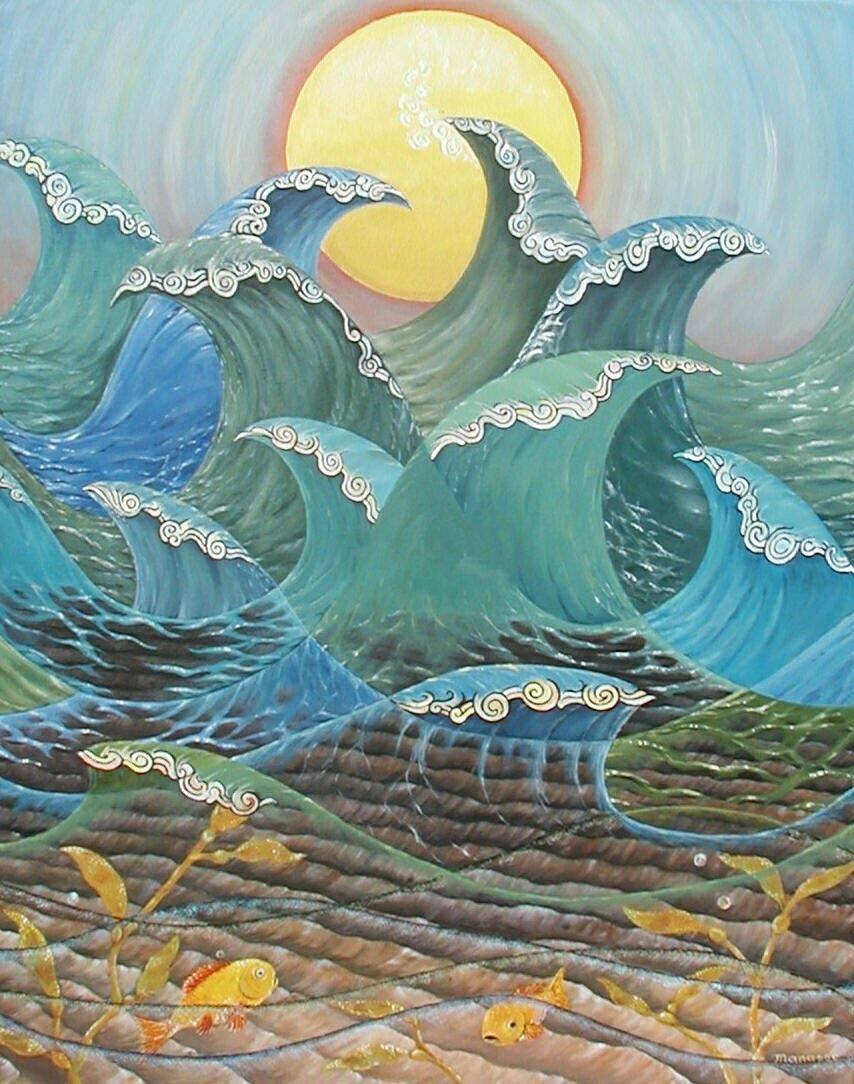 Ocean Waves. Modern Art, Painting, Manasse, Contemporary