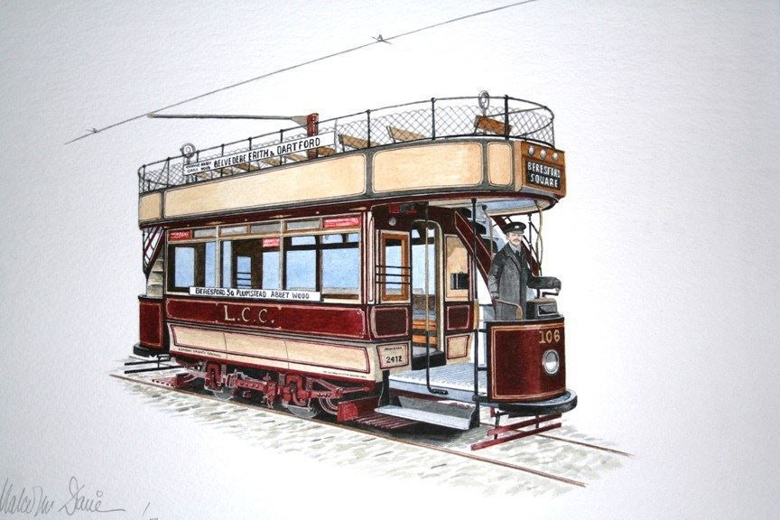"""LCC 106 : One of the currently """"non - operational"""" cars at the Crich Tramway Village, but is however undergoing restoration and will return to service in due course. COMMISSION - SOLD"""