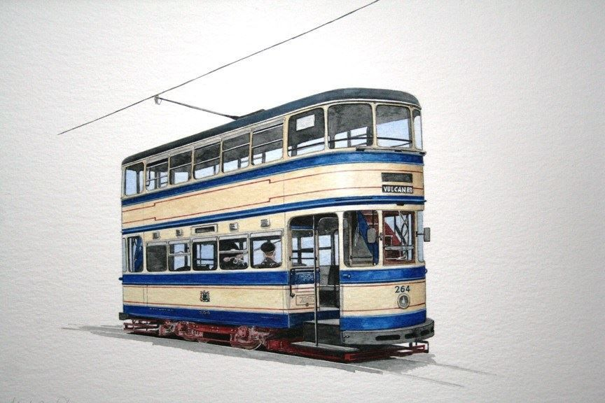 """Sheffield 264 : One of the """"static"""" display cars at the Crich Tramway Village. COMMISSION - SOLD"""