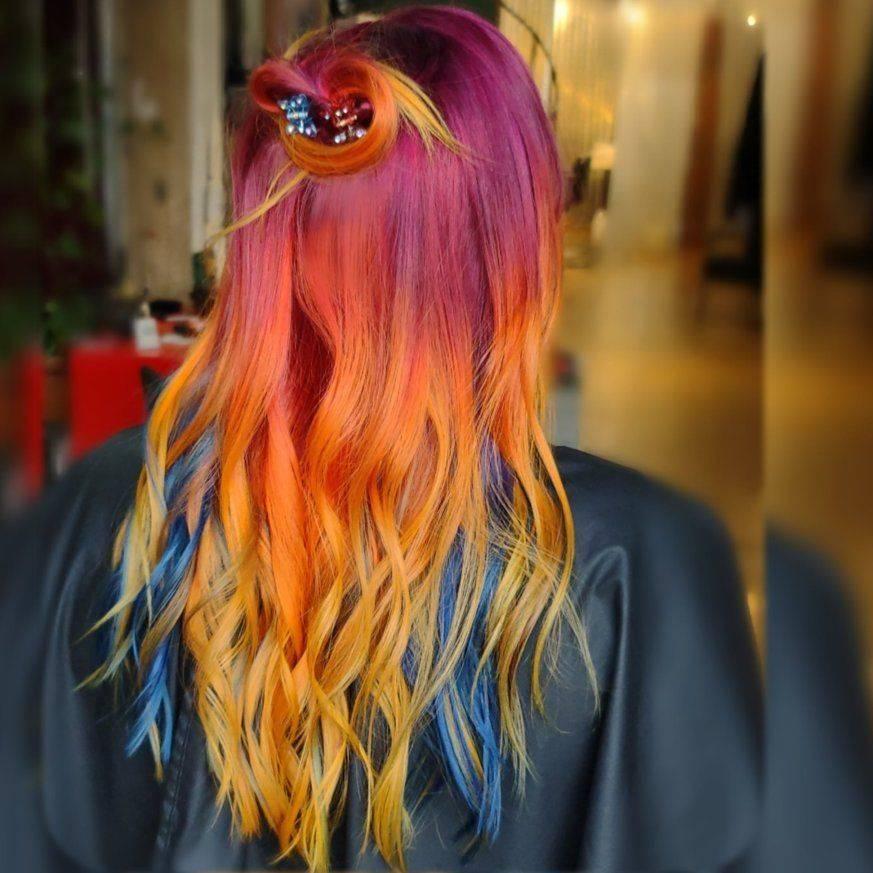 fire colormelt vivid redheads rainbow balayage lgbqt safe salon
