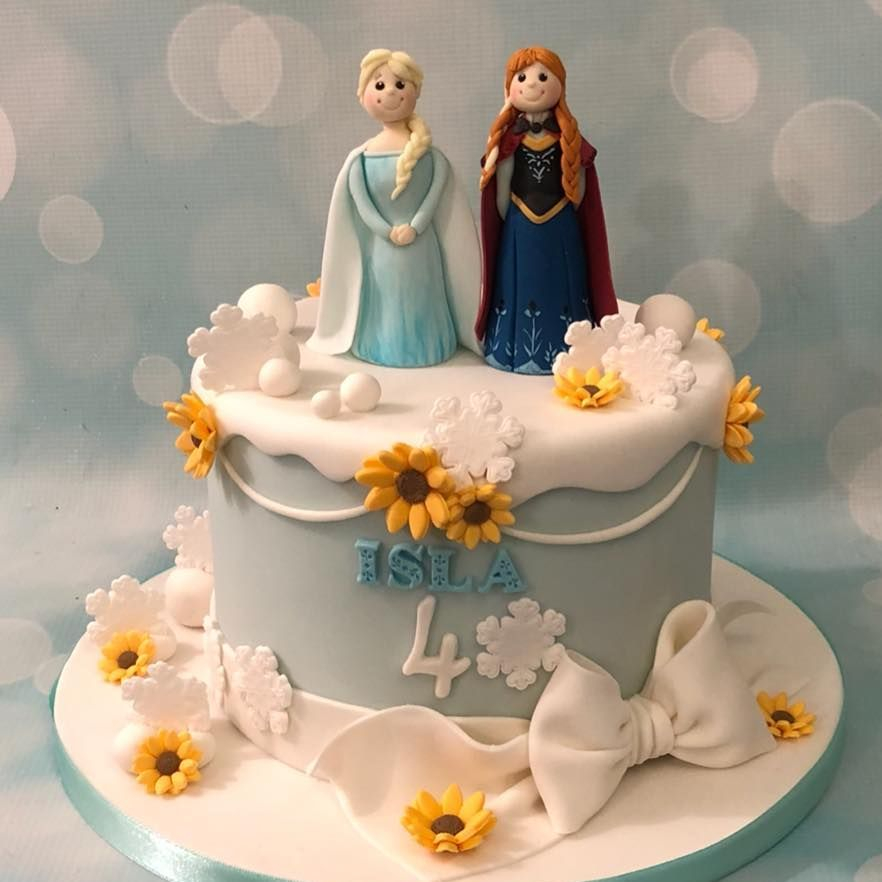 Frozend Anna Elsa Princess Brithday Cake Celebration Sunflower Snow Bow Snowflakes