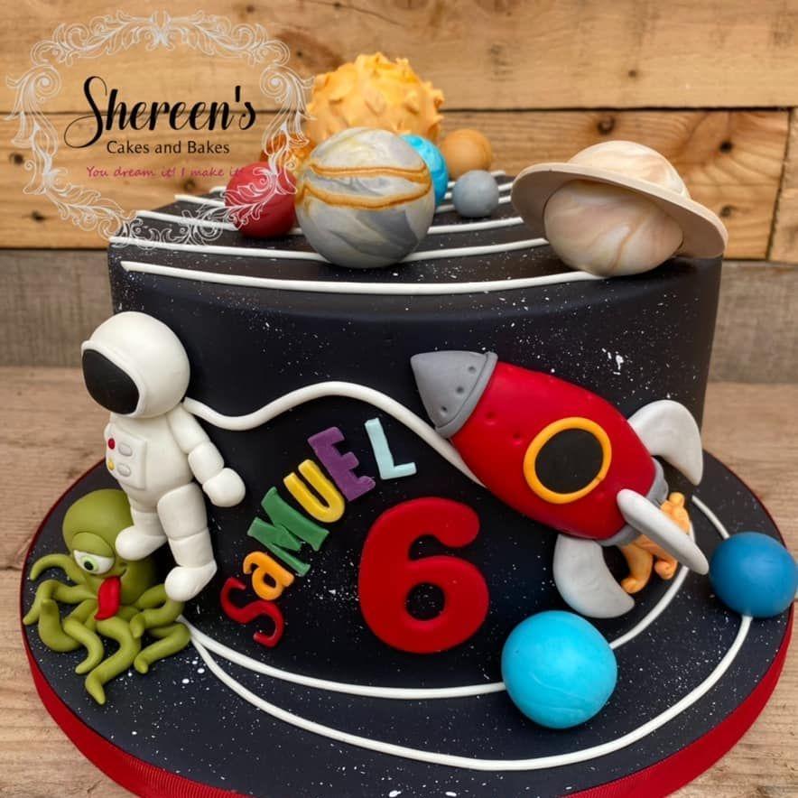 Space Galaxy Birthday Cake planets astronaut alien rocket