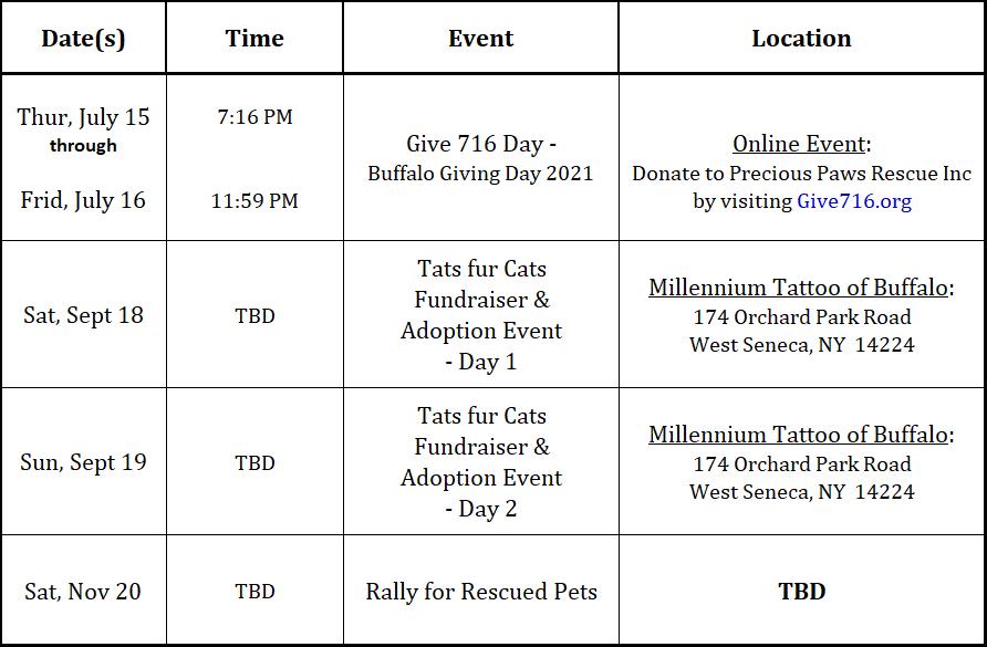 Precious Paws Rescue, PPR, Events, Fundraising, WNY, Buffalo, North Tonawanda, WNY