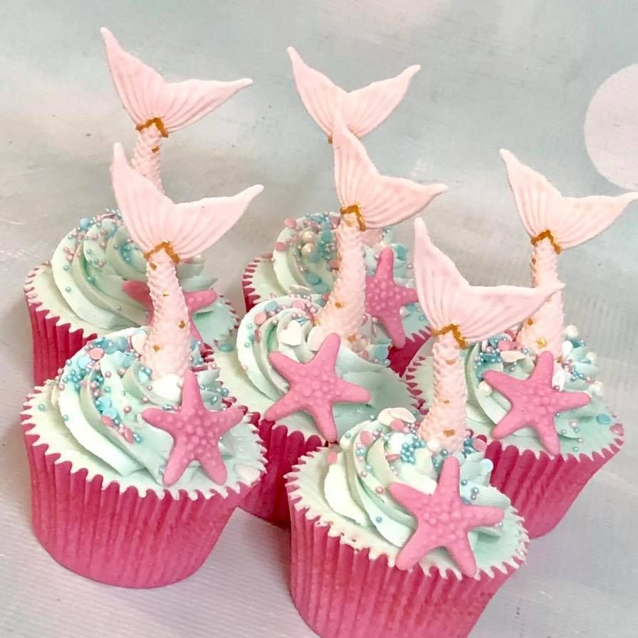 Mermaid Tail Cupcakes Starfish Sprinkles Birthday
