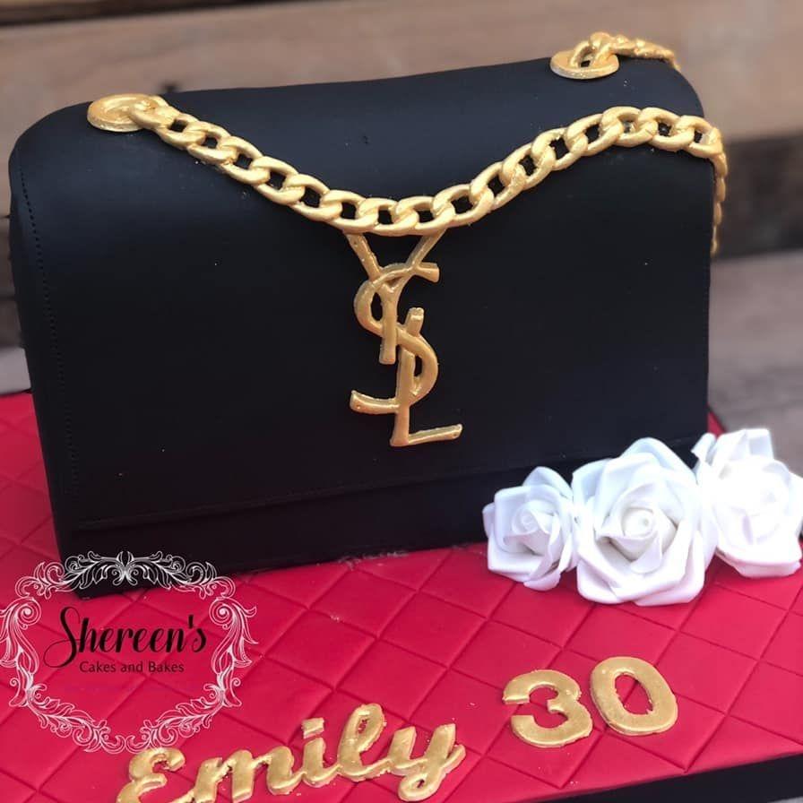 Birthday Cake YSL bag purse hand black gold 30th