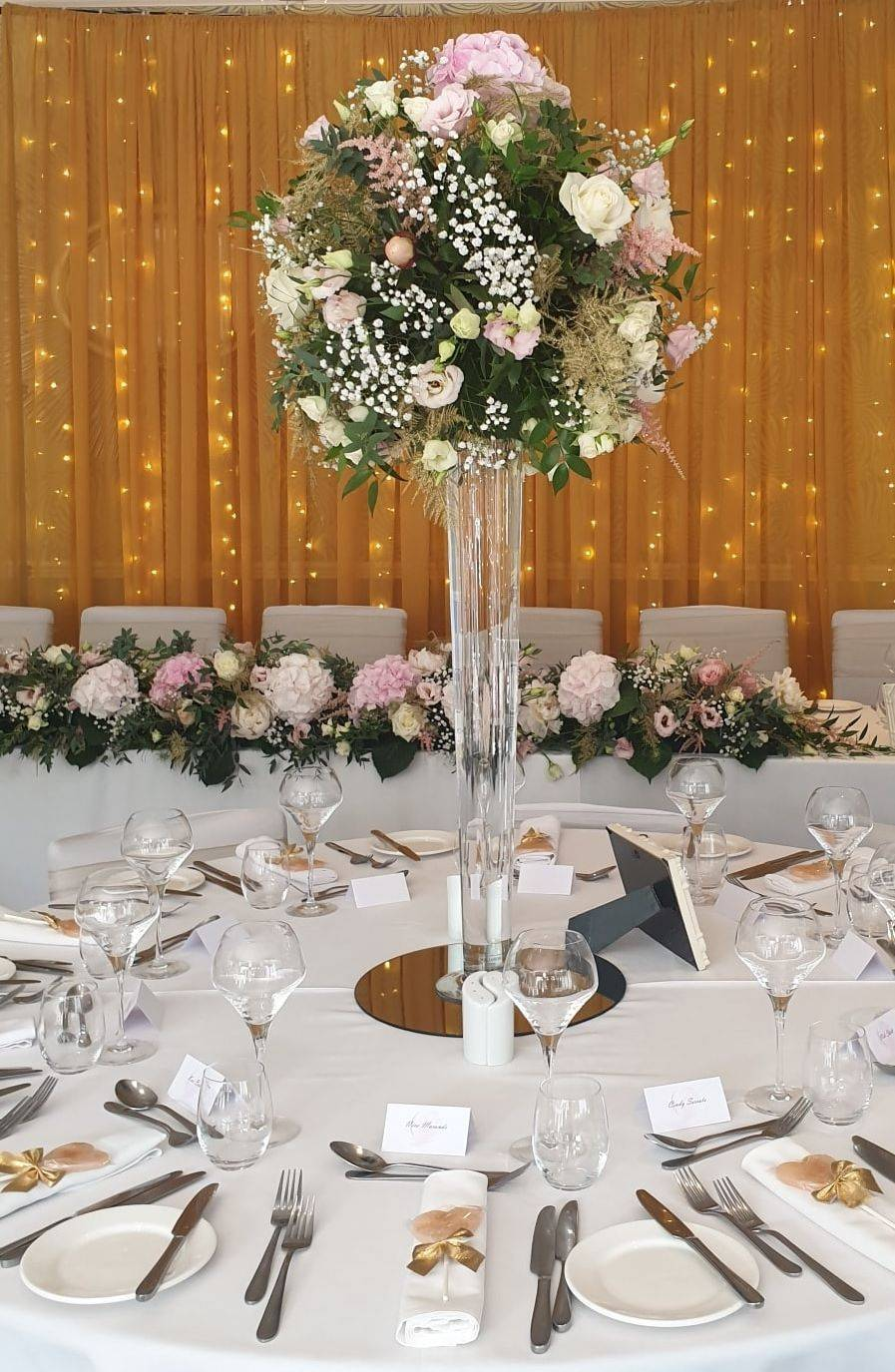 Wedding reception decor at The Green House Hotel Bournemouth
