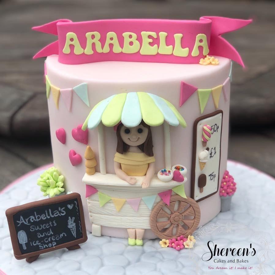 birthday cake cute girl ice cream cart sweet bunting pastel