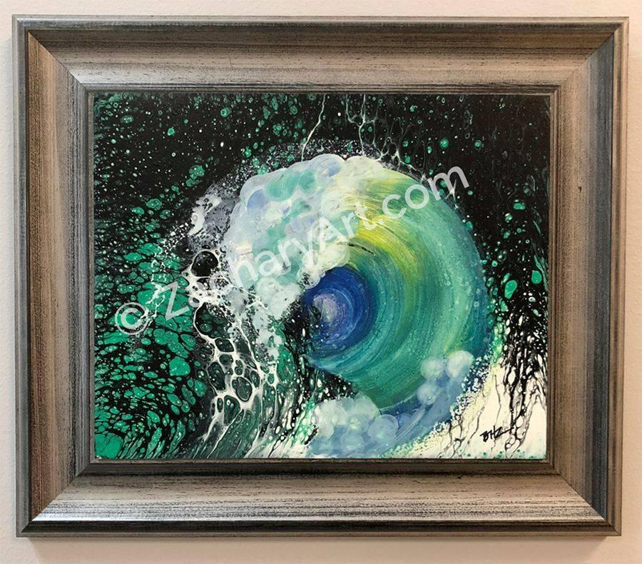 Framed acrylic on masonite, 13.5x11.5, Wood Frame Wave Action