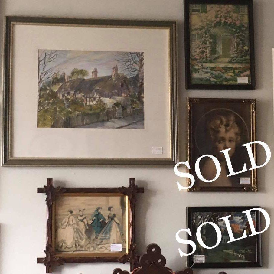 """Watercolor """"Anne Hathoways Cottage"""" by  Corven  $125,  'Light of the World' Print  $30.00,  Les Modes Print-Peterson Mag. July 1866  $55.00,  'Rare' E. Rudisuhli Temple Print  $45.00."""