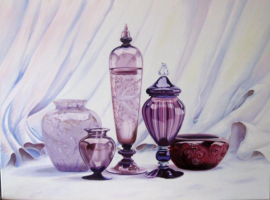 Stilleven van violet glas in olieverf.