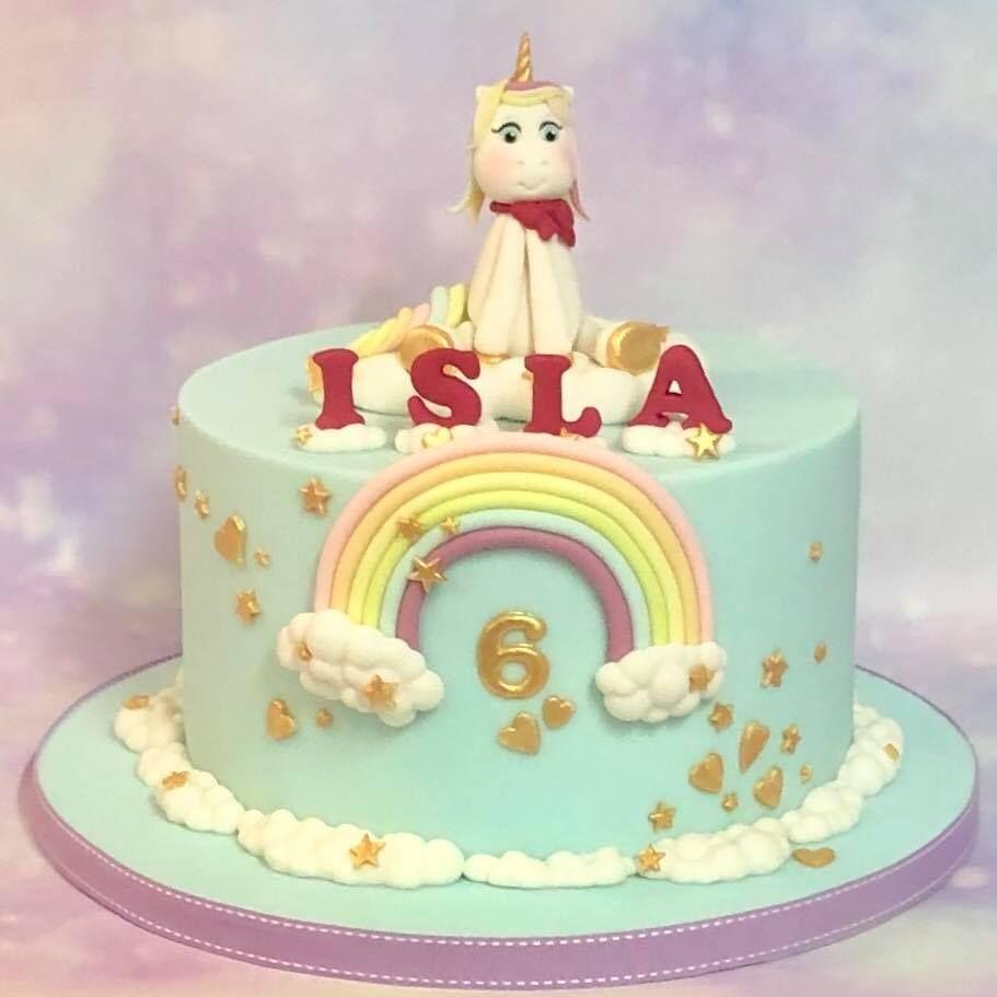 Unicorn Birthday Cake Pastel Rainbow Gold Stars Hearts Clouds