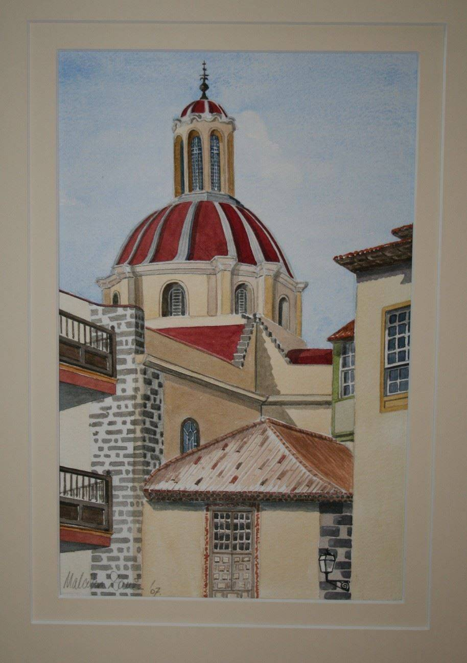 """Iglesia de la Concepcion, La Orotava Tenerife. This church is one of the main landmarks in La Orotava with its magnificent dome. It is painted in watercolour and double mounted in pale cream. Mounted painting measures 50 x 40 cm (20"""" x 16""""). : £120"""