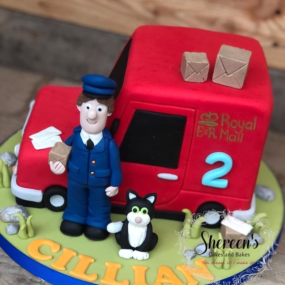birthday cake postman pat jess cat packages post van