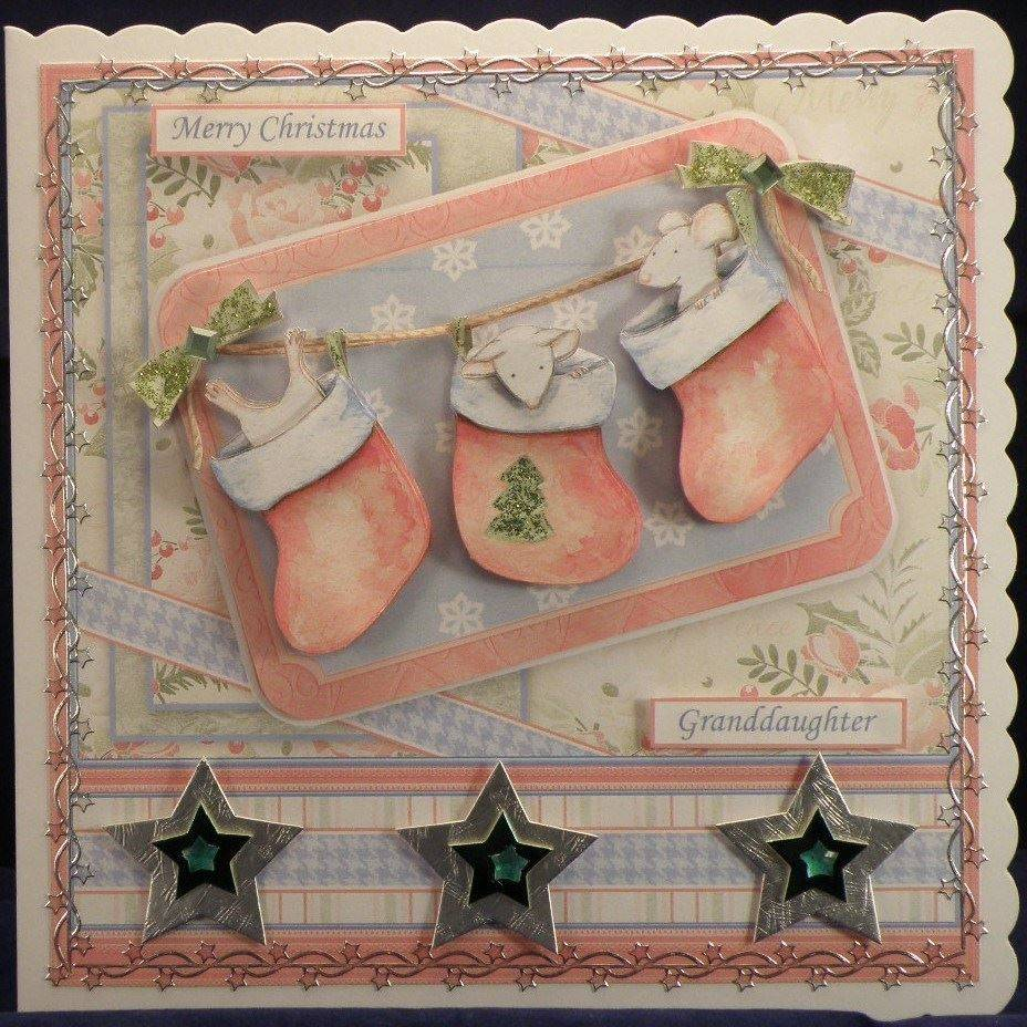 3 Christmas Mice in Stockings
