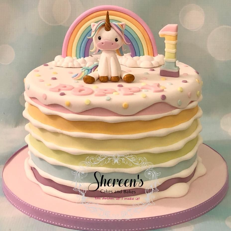 Unicorn Rainbow Pastel 1st Birthday Cake