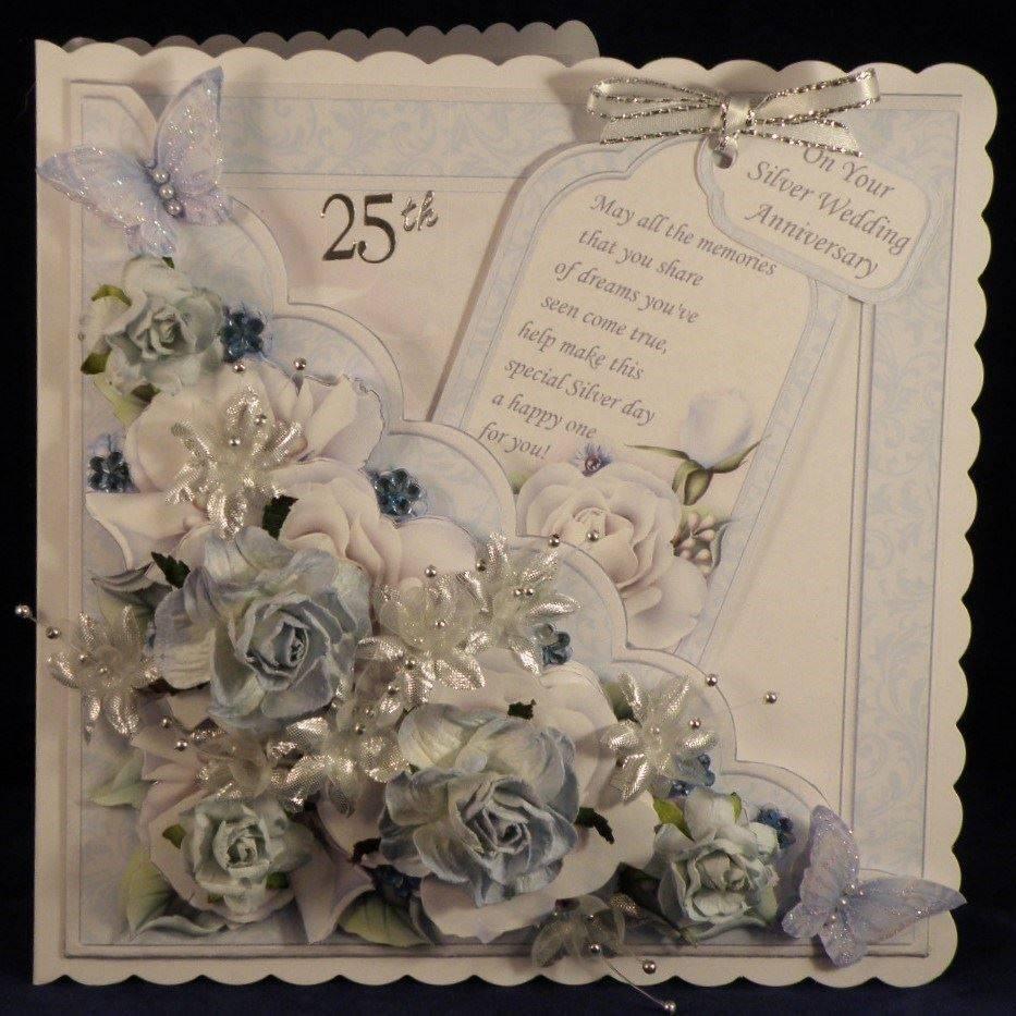 Square Scallop Pocket Silver Roses