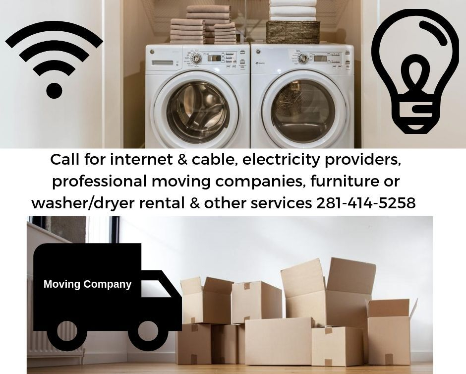 picture of washer & dryer, moving boxes and electricity providers