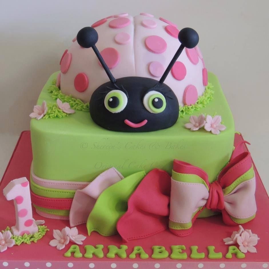 Ladybug Bow Polka Dot Birthday Cake Pink Green