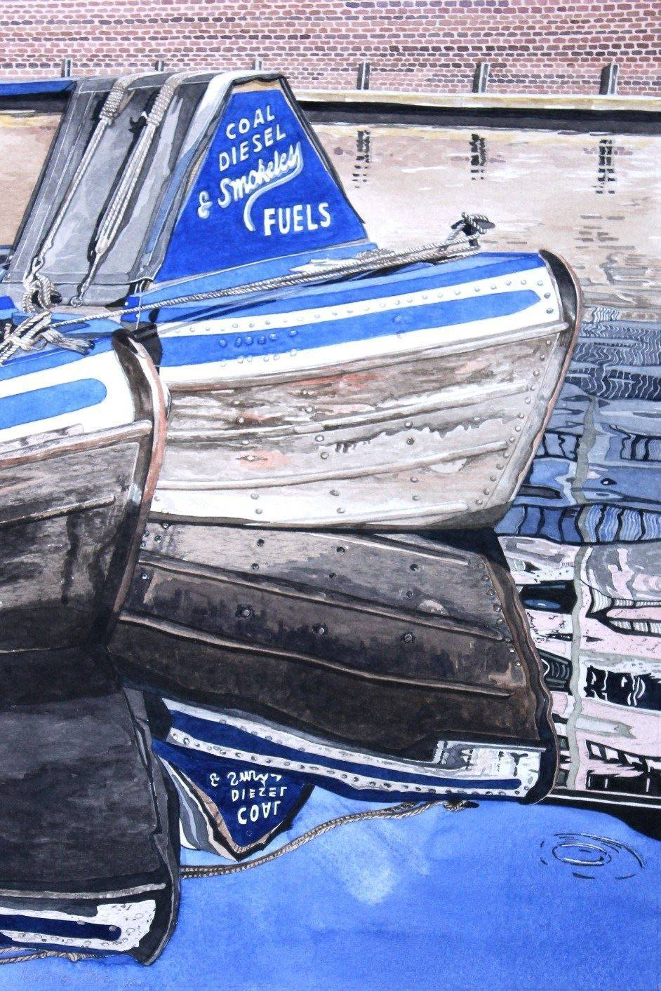 Grand Union Canal Working Boats Watercolour. : £125