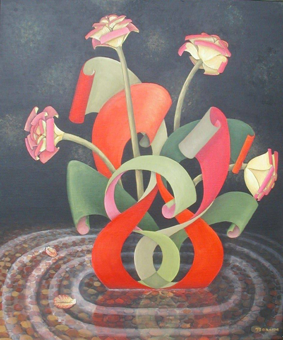 Paper Flowers. Art. Pool, Painting, Reflection, roses, Manasse