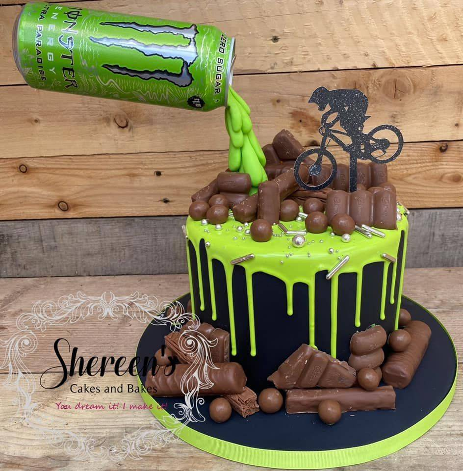 Topped with personalised topper, chocolates and bright green drip
