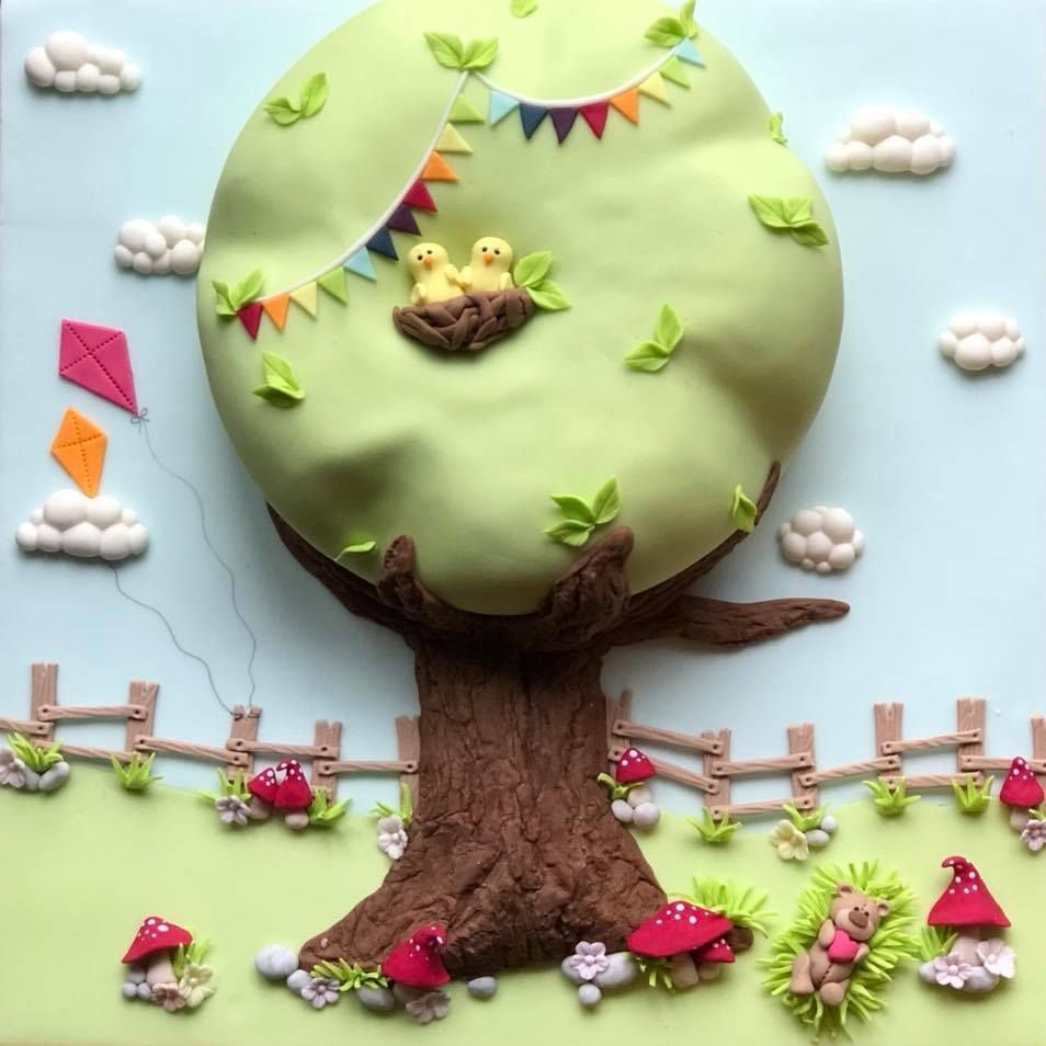 Tree Cake Clouds Bunting Teddy  Bear Kites Grass Fence Toadstools