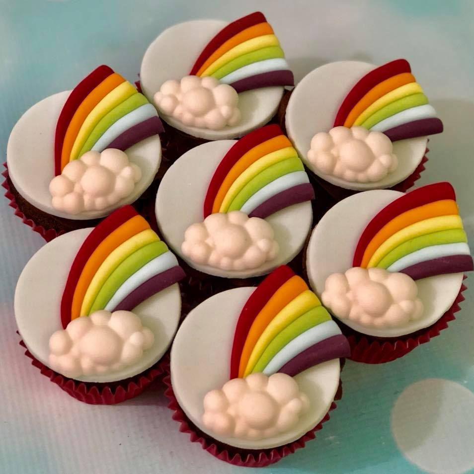 Rainbow Fluffy Cloud Cupcake Bright Colours Celebration