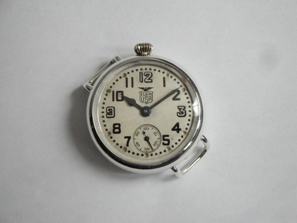1917 WWI Offset Crown Elgin White Star Dial Trench Watch