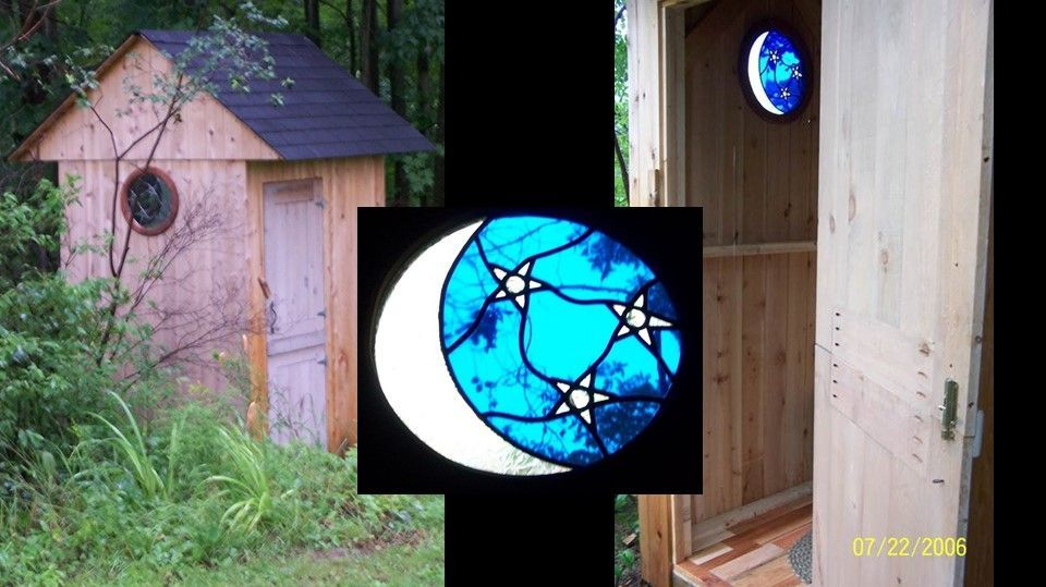 Custom moon and stars in outhouse