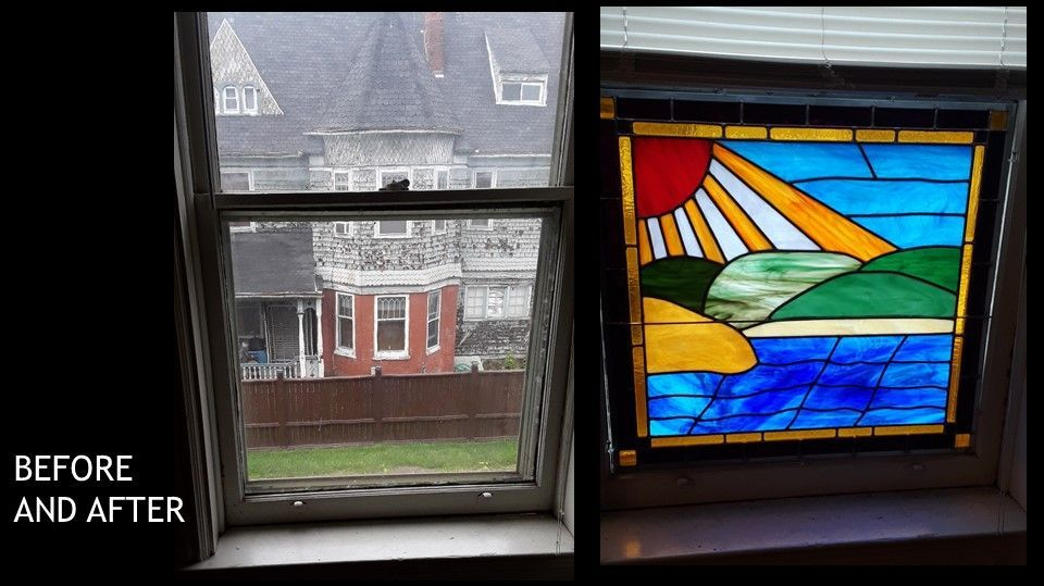 Before and After picture of replacing curtains in a home
