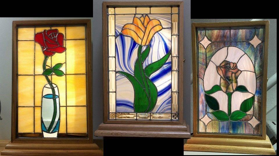 Flower panels in light boxes