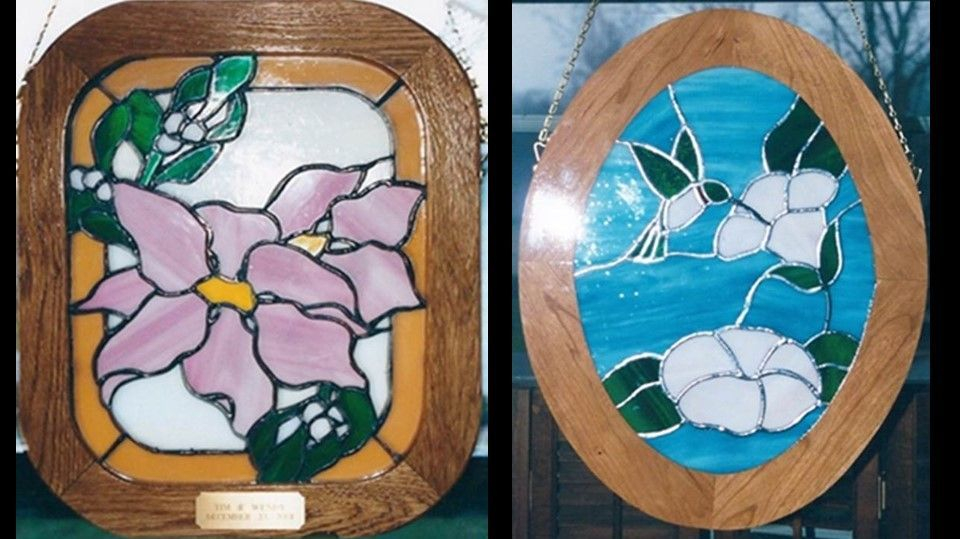 Poinsettia panel and hummer/flower panel