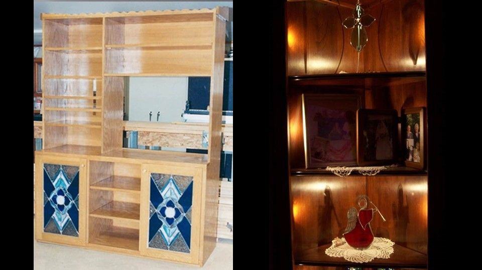 Custom TV stand with glass doors and remembrance corner display