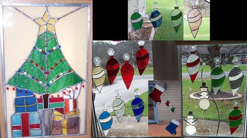Christmas Tree Panel and Christmas Ornaments