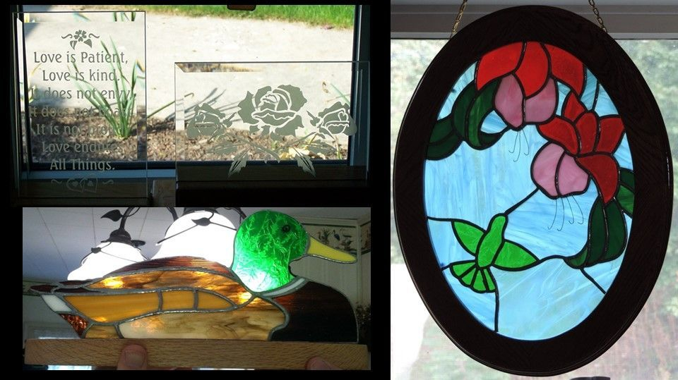 Etched Glass, Duck,s and hummer/flower panel
