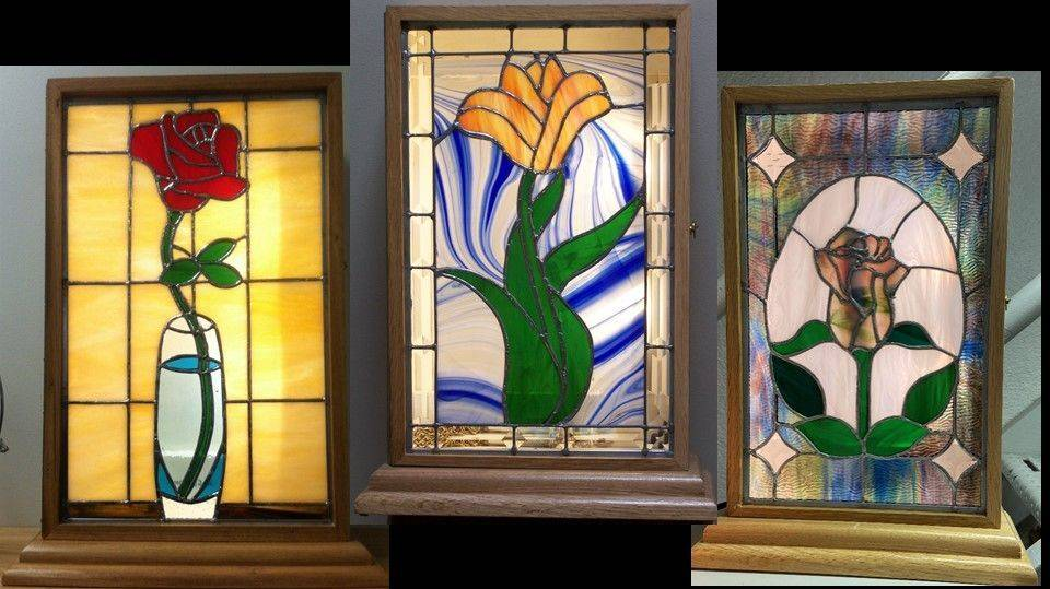Flower panels in light boxes