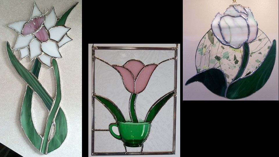 Daffodil, Glassware designs, and Drapery Glass Tulip