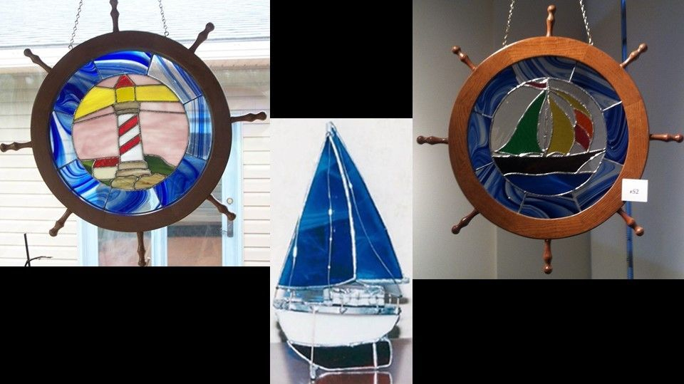 Nautical Themed panels and free standing boat