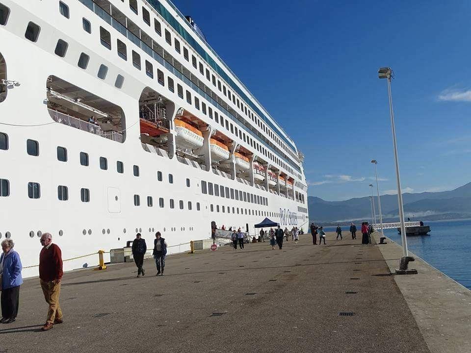 p&o cruises, cruise ship, dockside, yacht, blue mountain, ajaccio, corsica, france, mediterannean, holiday, alps