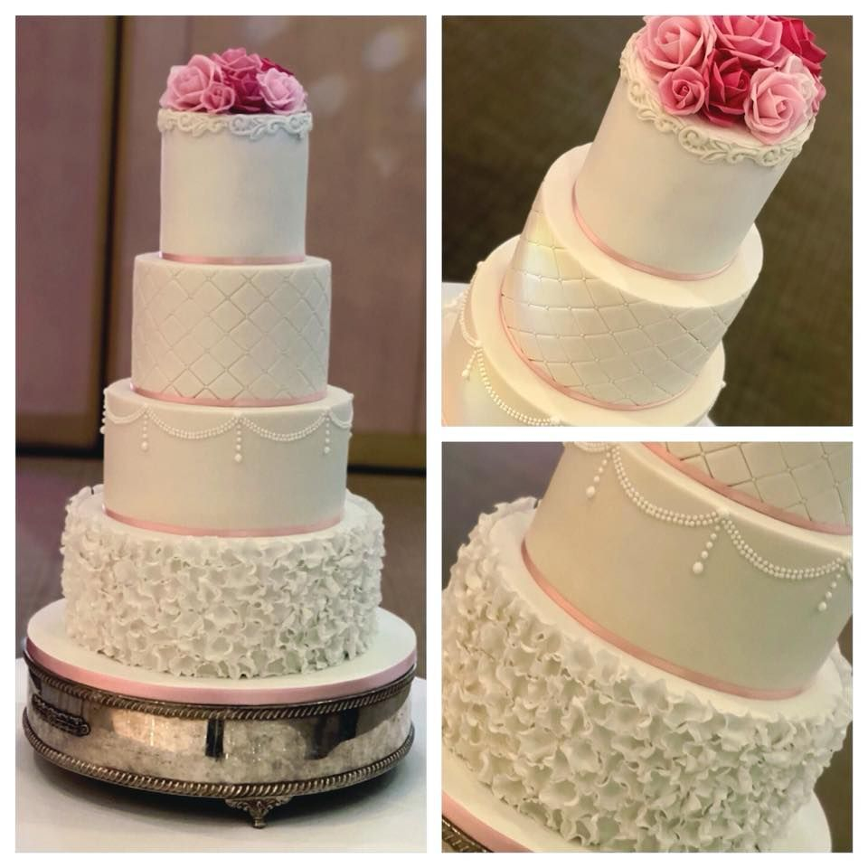 Pink White Pearl Wedding Cake Ruffles Roses Quilting Quilted Lace